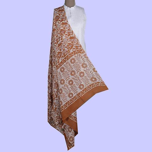 Shades Of Brown & White Hand Block Printed Cotton Silk Batik Dupatta