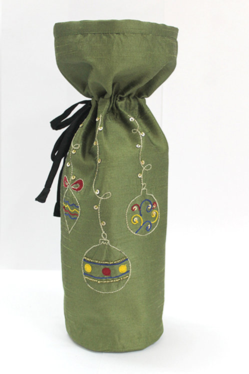 Green Hand Embroidered Wine Bag