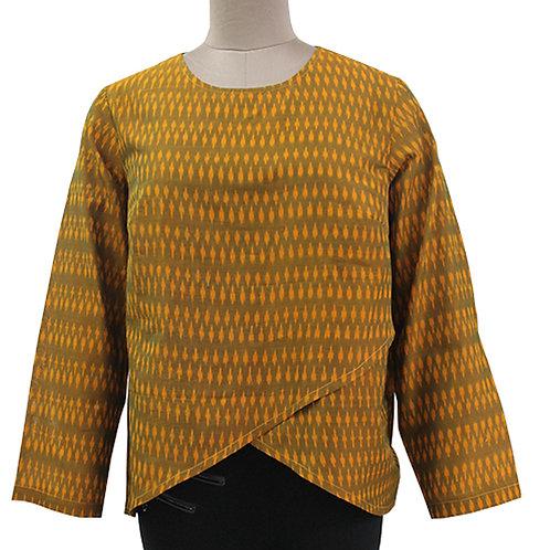 Mustard Cotton Handwoven Ikat Top