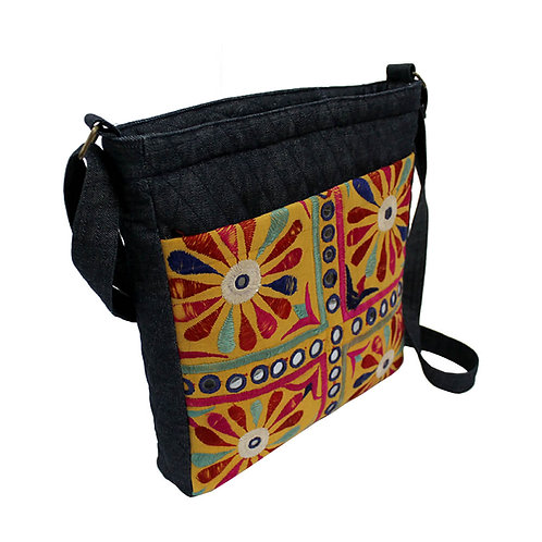 Embroidered Denim kutch work Laptop side bag
