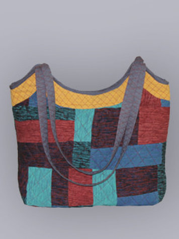 Multicolored Patchwork Handwoven Chevron Large Tote Bag