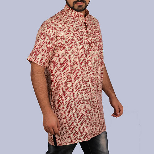 Brown Printed Half Sleeves Cotton Short Kurta