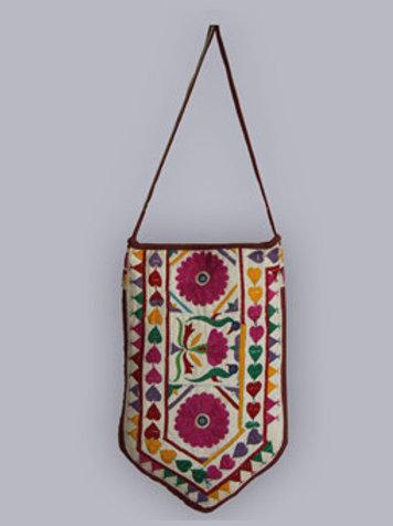 Maroon Kutch Hand Embroidery Mirror Work Sling Bag
