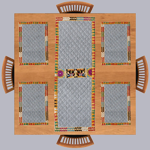 White Black Handwoven Hand Embroidered Table Mats & Runner (Set of 4+1)