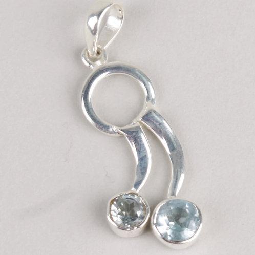 Sterling Silver & Blue Topaz Pendant
