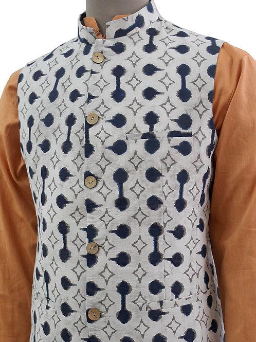 Beige Handblock Printed Nehru Jacket