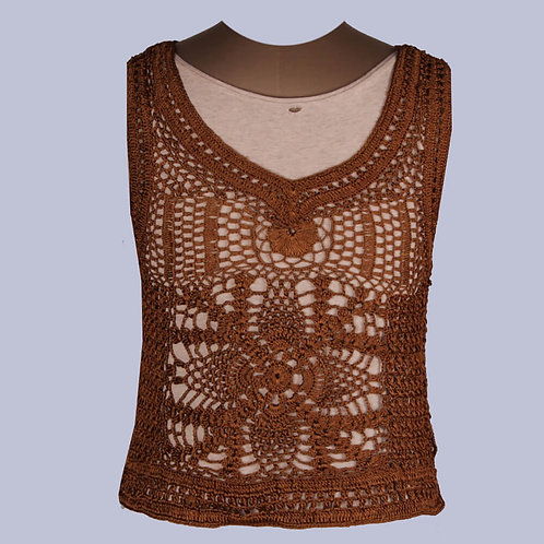 Rust Crochet Sleeveless Crop Top
