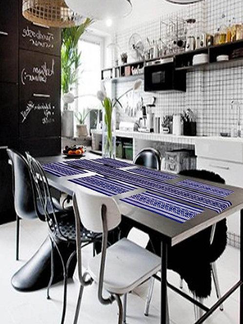 Indigo Colour Ajrak Hand Block Printed Cotton Runner With 6 Table Mats