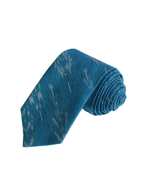 Blue Handwoven Ikat Cotton Tie