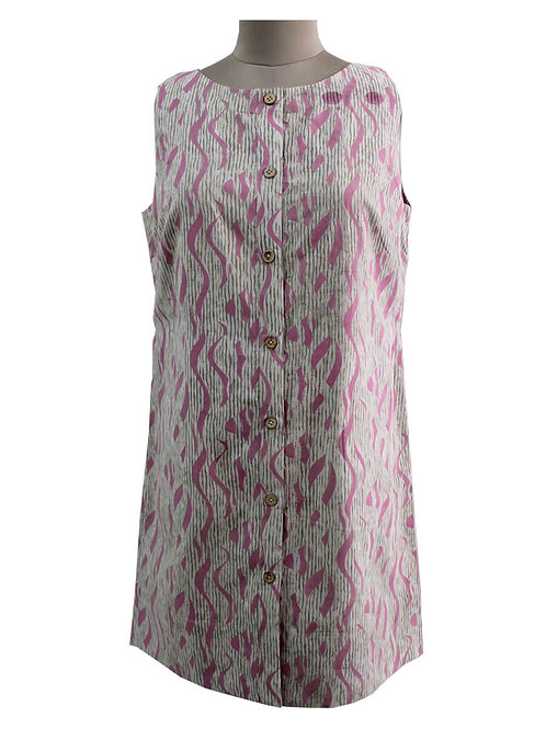 Handblock Printed Sleeveless Shirt Dress