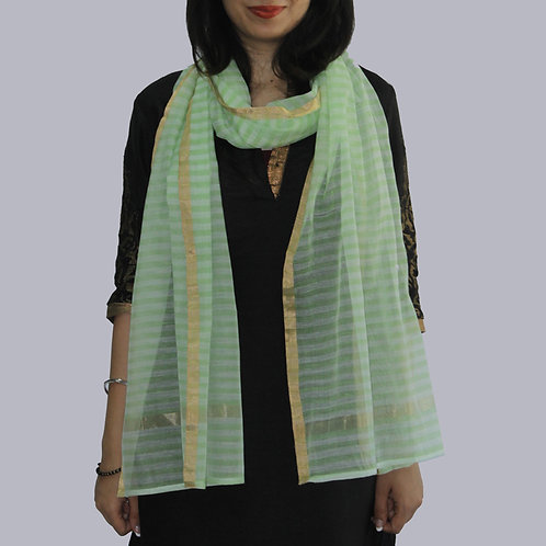 Parrot Green And White Striped Chanderi Cotton Slik Stole