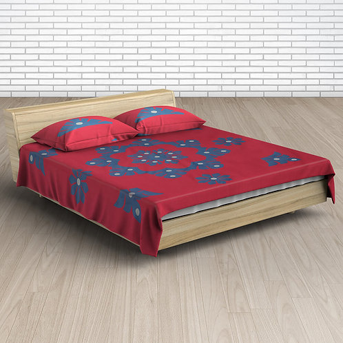 Red Blue Handmade Applique Work Cotton Double Bed-sheet With 2 Pillow Covers