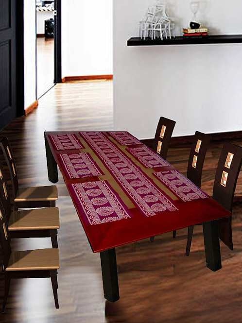 Maroon Colour Ajrak Hand Block Printed Cotton Runner With 6 Table Mats