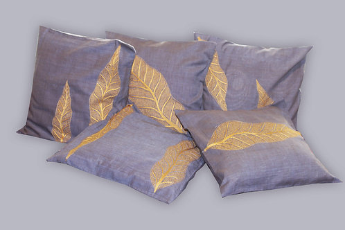 Blue Handwoven Leaf Pattern Hand Embroidered Designer Cushion Covers (Set Of 5)