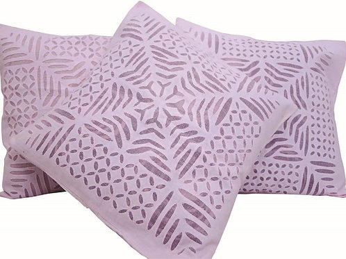 Pink Colour Cutwork Design Cushion Covers (Set Of 3)