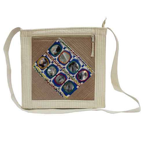 Cream & Beige Chanderi Silk Kutch Sling Bag