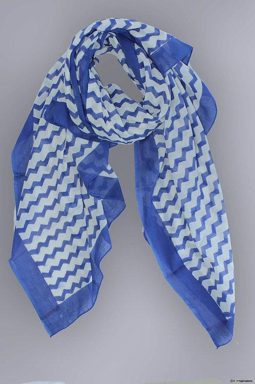 Blue Bagru Hand Block Printed Zig Zag Design Malmal Stole