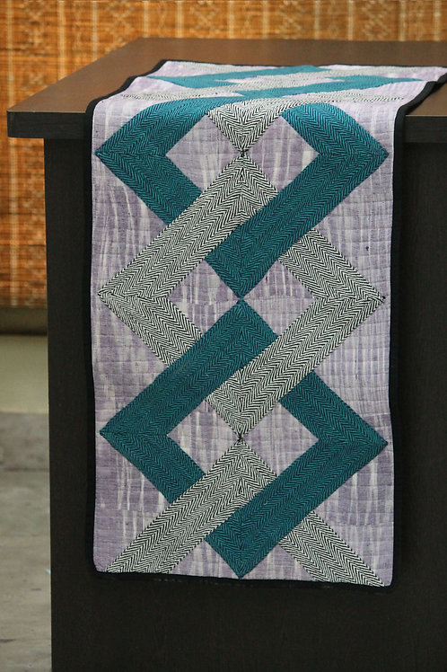 Black Green Handwoven Cotton Patchwork Runner