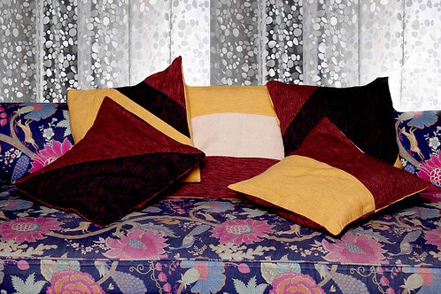 Mustard,Maroon & Red Handwoven Designer Cushion Covers (Set Of 5 Cushion Covers)