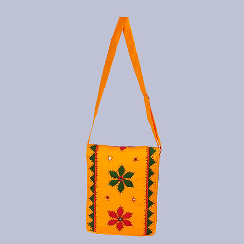 Yellow Green Applique Mirror Work Tote Bag (With Flap)