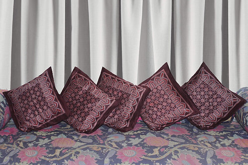 Maroon Ajrak Hand Block Printed Glaze Cotton Cushion Covers (Set Of 5)