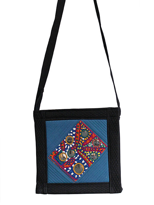 Blue Black Mangalgiri Kutch Sling Bag