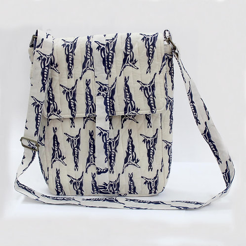 White Indigo Block Printed Laptop Bag