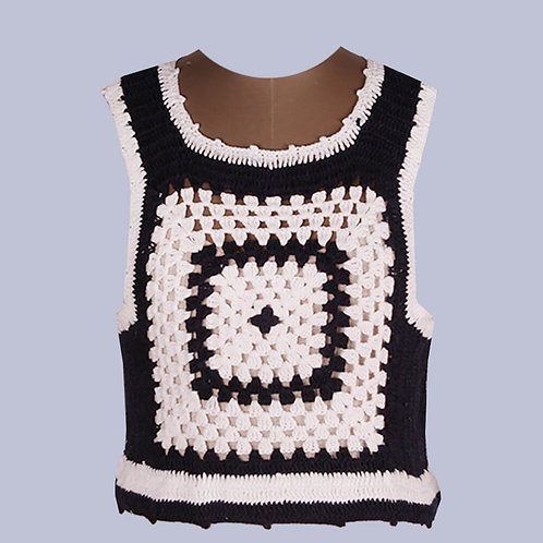 Navy Blue White Crochet Crop Top