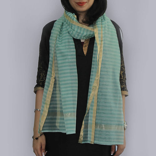 Olive Green And White Striped Chanderi Cotton Slik Stole