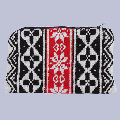 Black-Red Toda Hand Embroidered Handy Purse