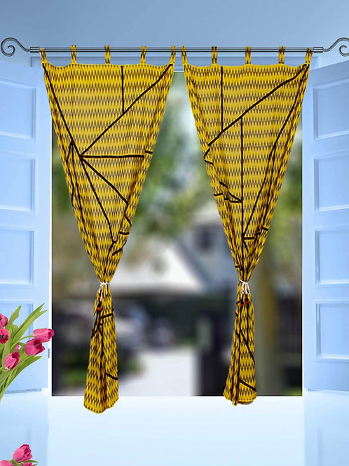 Yellow Ikkat Handwoven Designer Curtains With Abstract Ikkat Detailing Piping