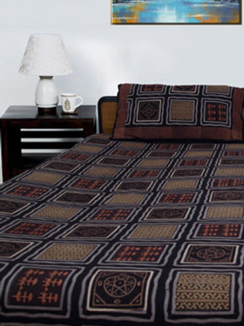 Black Hand Block Printed Double Bed-sheet With 2 Pillow Covers