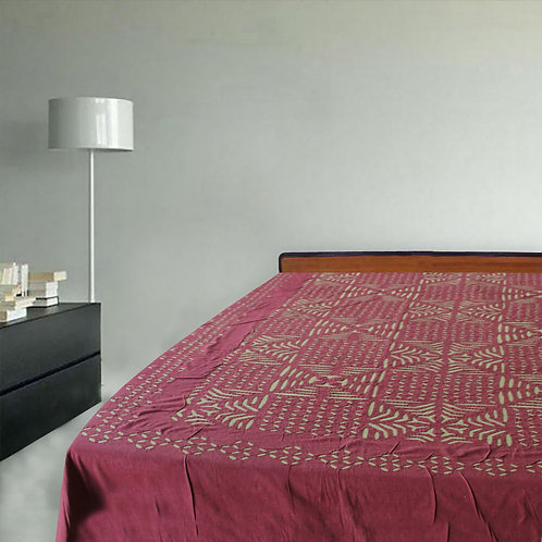 Green Red Cutwork Double Bedcover