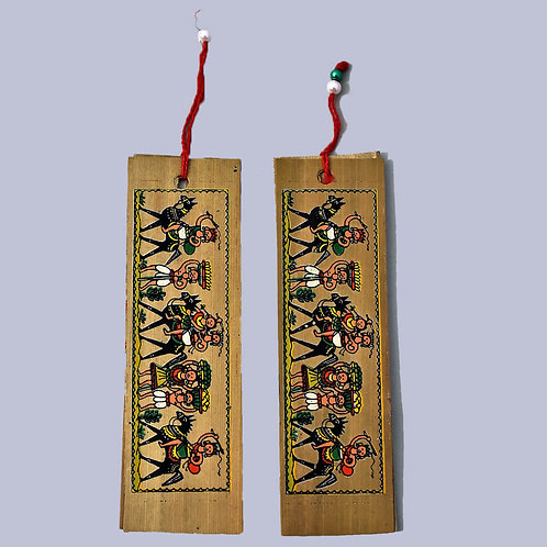 Natural Palm Leaf Hand Painted Book Marks Small (Set of 2)
