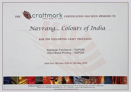 Craftmark Certificte for Navrang Creations