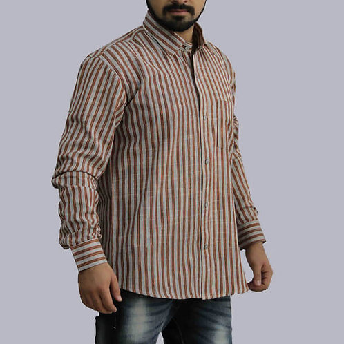 Maroon & Grey Stripes Full Sleeves Handwoven Cotton Shirt