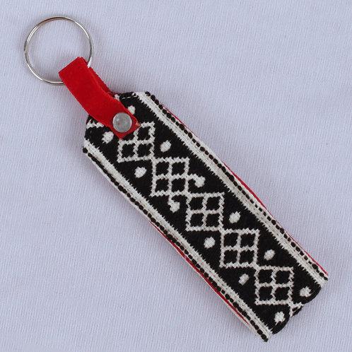 Black-White Toda Hand Embroidered Key Chain