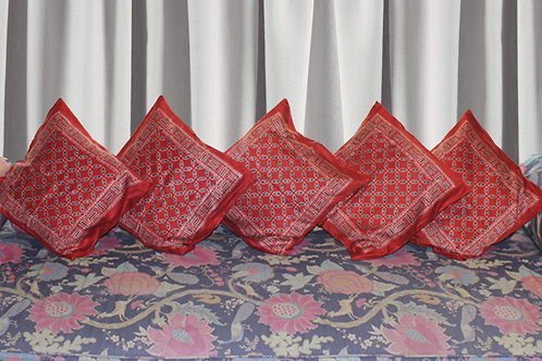Red Leaf Pattern Ajrak Hand Block Printed Glaze Cotton Cushion Covers (Set Of 5)