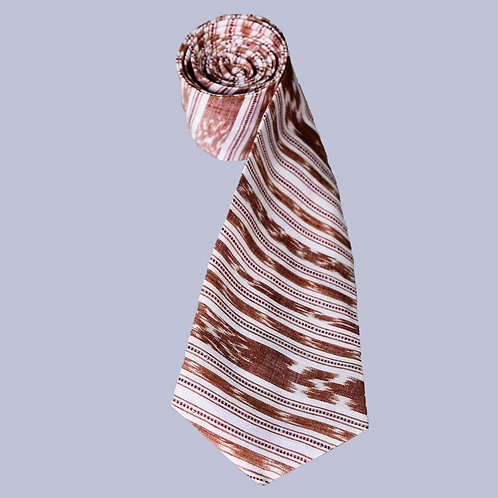 White-Brown Handwoven Ikat Cotton Tie