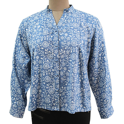 Blue White Handwoven Printed Full Sleeve Top