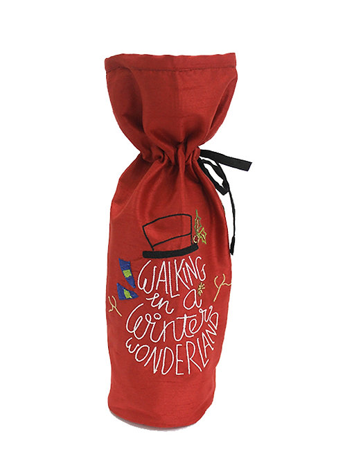 Red Hand Embroidered Wine Bag