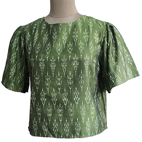 Olive Green Cotton Handwoven Ikat Top
