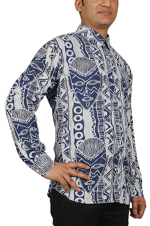 Bagru Hand Block Printed Abstract Indigo Designer Cotton Shirt