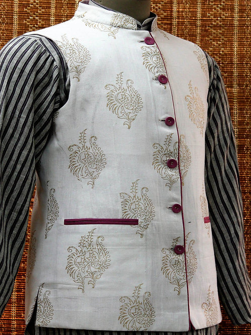 Pink & White Handwoven Cotton Reversible Nehru Jacket