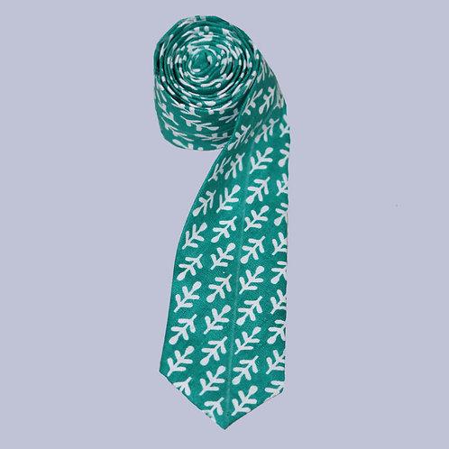 Green & White Handwoven Cotton Tie