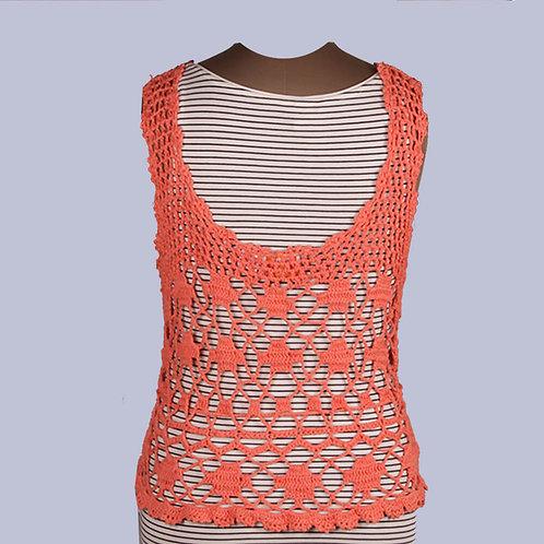 Orange Sleeveless Crochet Top