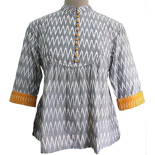 Grey White Cotton Handwoven Ikat Top