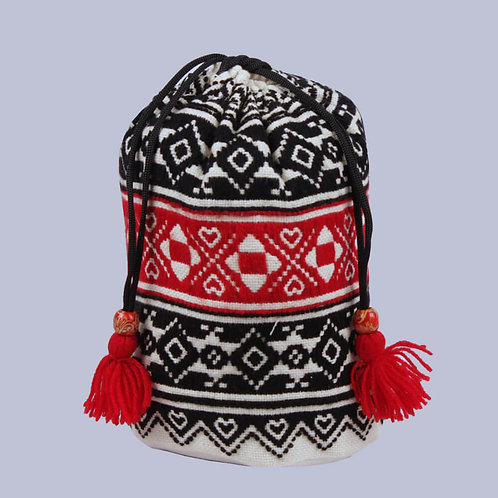 Black-Red Toda Hand Embroidered Potli Bag