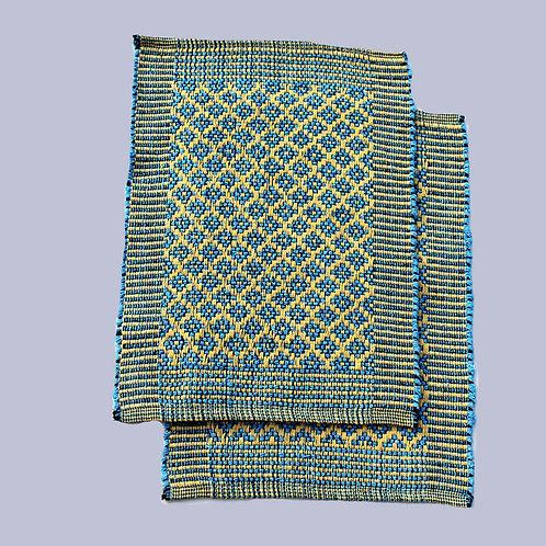 Blue-Yellow Handwoven Foot Mats (Set Of 2)