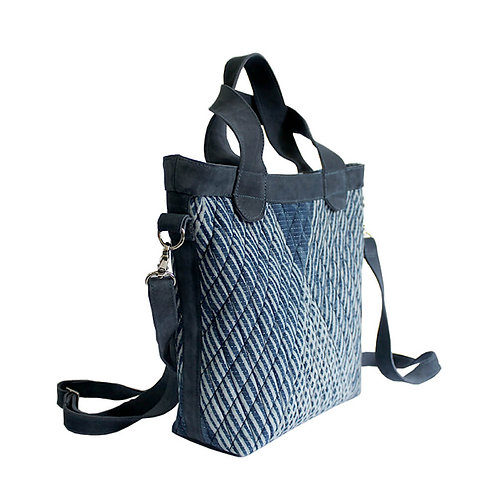 Blue block print leather sling bag